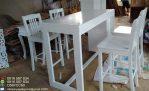 Set Kursi Kafe Putih Cat Duco Modern