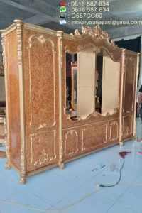 Lemari Pakaian Ukir Gold Pintu 6