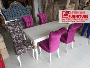 Kursi Meja Makan Terbaru Putih cat Duco Asli Jepara